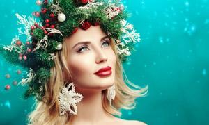 圣诞头饰红唇美女人物摄影高清图片