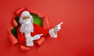 比划着手势的圣诞老人创意高清图片