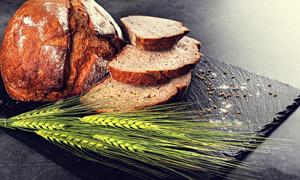 长麦芒青麦穗与面包片摄影高清图片