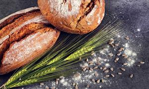 瓜子仁与麦穗面包特写摄影高清图片
