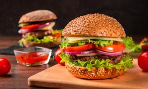 口感丰富的美味汉堡包摄影高清图片