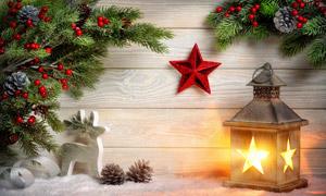 木板红星与树枝等圣诞主题高清图片