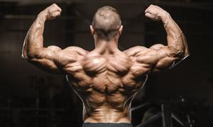 健壮背部肌肉男人特写摄影高清图片