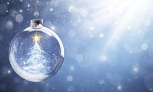 光線光斑與星光圣誕球創意高清圖片
