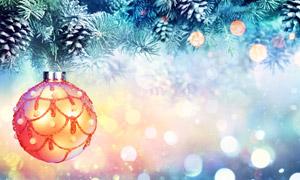 在樹枝上掛著的夢幻圣誕球高清圖片