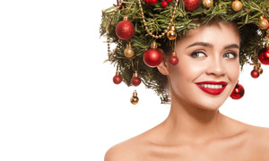 圣诞物品发饰红唇美女摄影高清图片