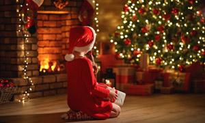 房间里的圣诞树与儿童摄影高清图片