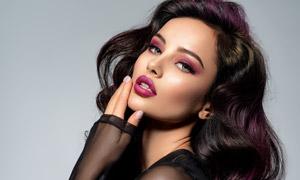 黑色透视装扮浓妆美女摄影高清图片