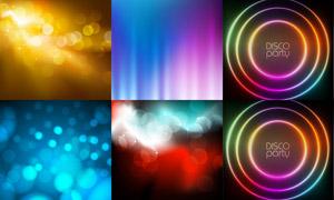 炫彩光斑与霓虹圆环等背景矢量素材