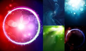 光效圆环与?#20301;?#20809;斑等背景矢量素材