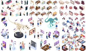 骑行人物与展览教育等创意矢量素材