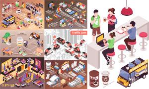 咖啡店铺与城市交通等创意矢量素材