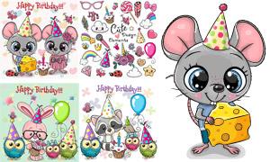 小老鼠与猫头鹰等卡通创意矢量素材