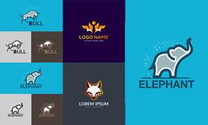 公牛与大象等元素标志设计矢量素材