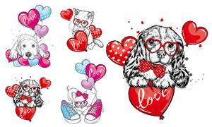 心形气球元素卡通动物创意矢量素材