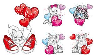 心形气球与猫狗等卡通创意矢量素材