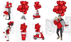 紅氣球與情侶人物等情人節矢量素材