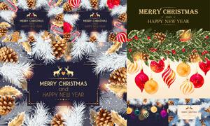 松果挂球等圣诞节海报设计矢量素材