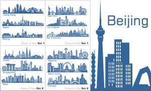 大城市地标建筑物剪影矢量素材集V1