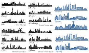 大城市地标建筑物剪影矢量素材集V2
