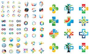 炫彩几何抽象图形标志创意矢量素材