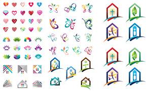 桃心与蝴蝶花纹等标志创意矢量素材