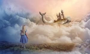 空中漂流的创意城堡PS教程素材
