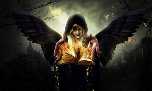 创意的暗黑魔法师施法场景PS教程素材