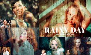 雨后玻璃上流淌的雨滴特效PS动作