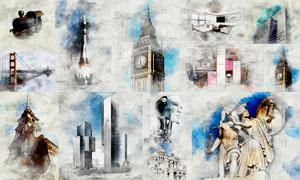 建筑物手绘素描和草图效果PS动作