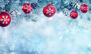 圣诞节与松果元素背景创意高清图片