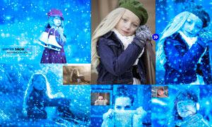 中文版冬季蓝色下雪特效PS动作
