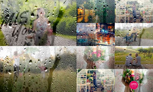 逼真的雨天玻璃后水滴效果PS動作