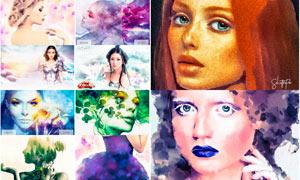 人像水彩绘画艺术效果PS动作