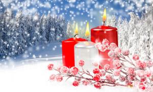 白雪树林与燃烧着的蜡烛等高清图片