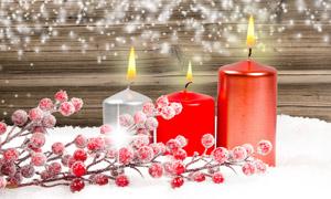 雪地上的果實與蠟燭等攝影高清圖片