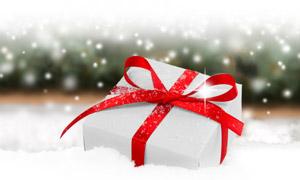 白雪星光與禮物盒特寫攝影高清圖片