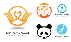 天鵝熊貓與虎頭等圖案標志矢量素材