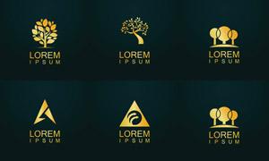 树木与几何图案等元素标志矢量素材