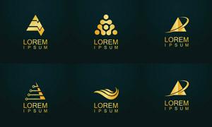 金色抽象图案标志创意设计矢量素材