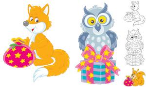 狐狸猫头鹰等卡通动物创意矢量素材