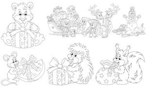 圣誕老人馴鹿與小老鼠線稿矢量素材