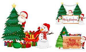 圣誕老人雪人卡通創意設計矢量素材