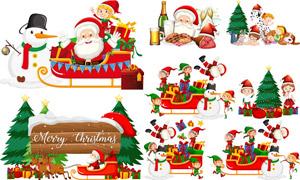 圣诞老人与圣诞树雪人主题矢量素材