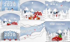 树木房子与圣诞老人等创意矢量素材