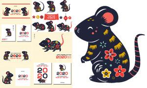花朵元素的小老鼠创意图案矢量素材