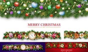 铃铛树枝与圣诞球装饰元素矢量素材