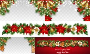 树枝红花铃铛等圣诞节饰品矢量素材