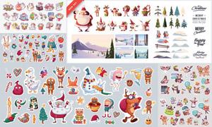多款卡通可愛圣誕動物創意矢量素材