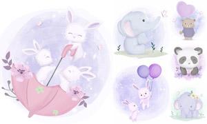 兔子與熊貓等可愛動物創意矢量素材